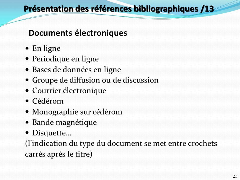 Présentation des références bibliographiques /13