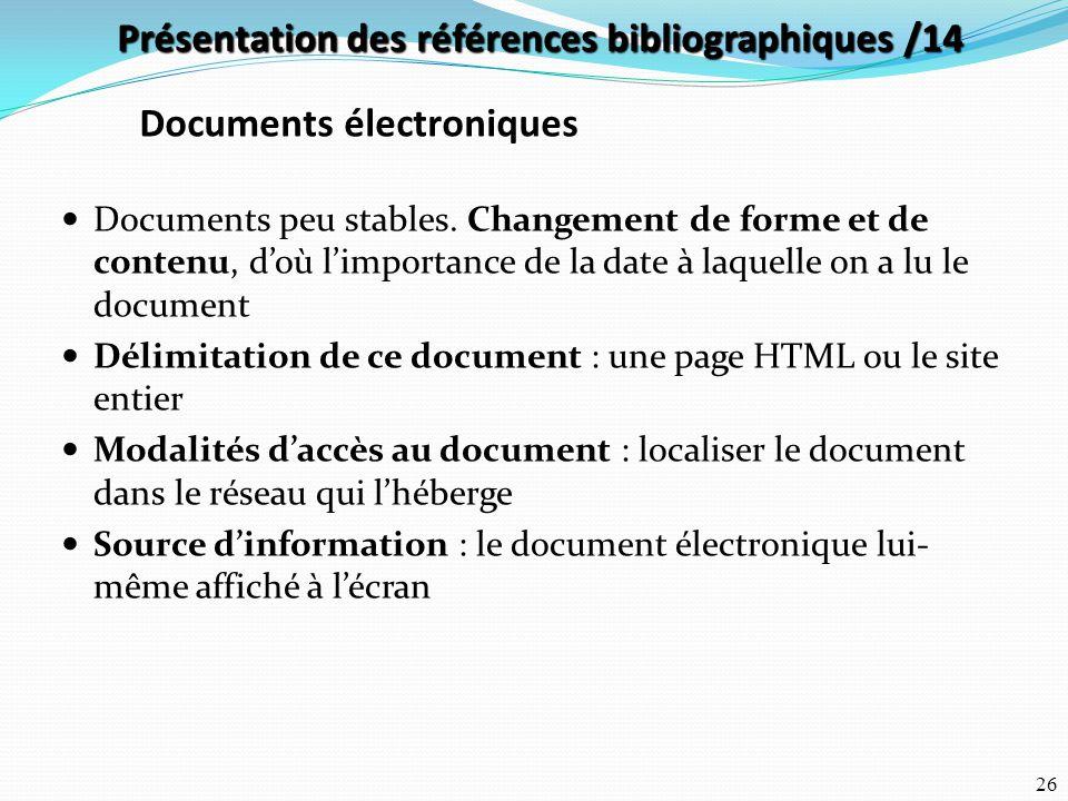 Présentation des références bibliographiques /14