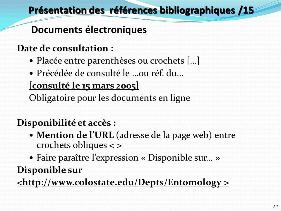 Présentation des références bibliographiques /15