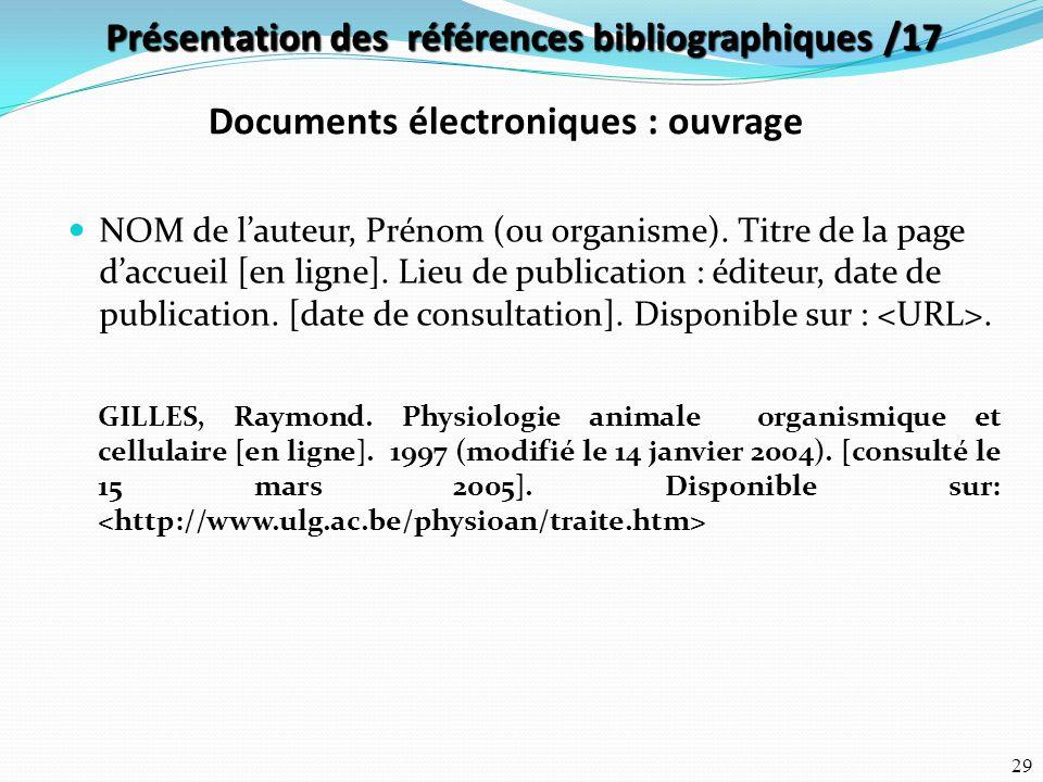 Présentation des références bibliographiques /17