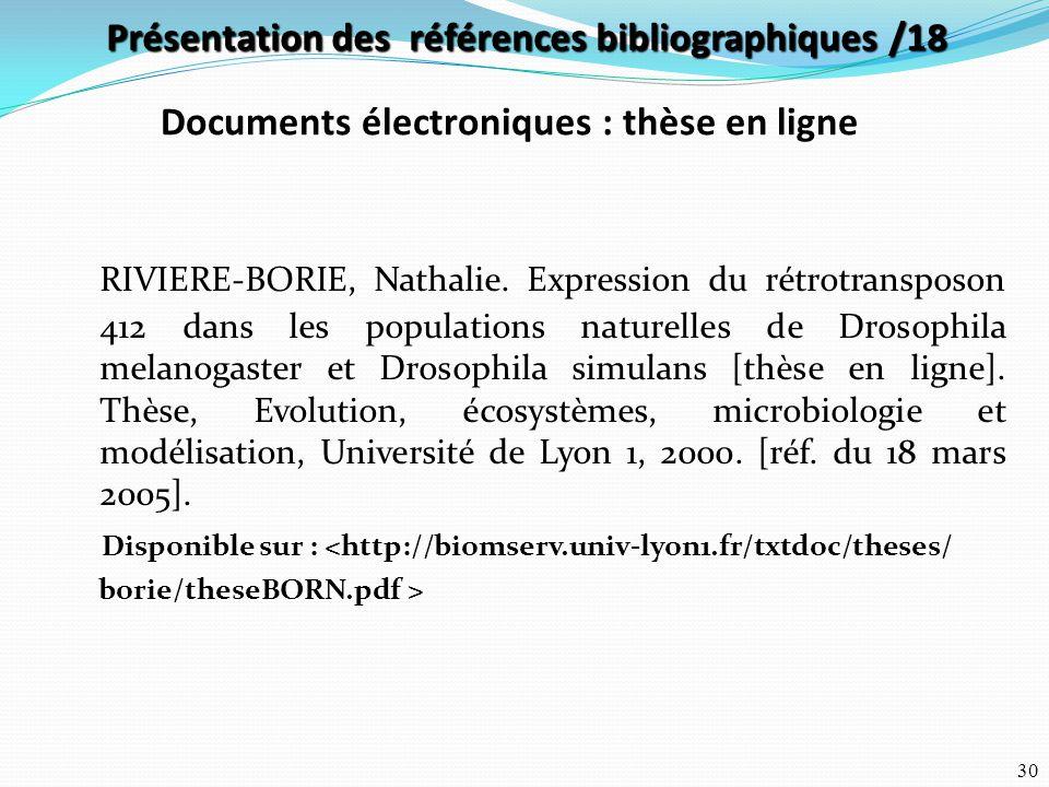 Présentation des références bibliographiques /18