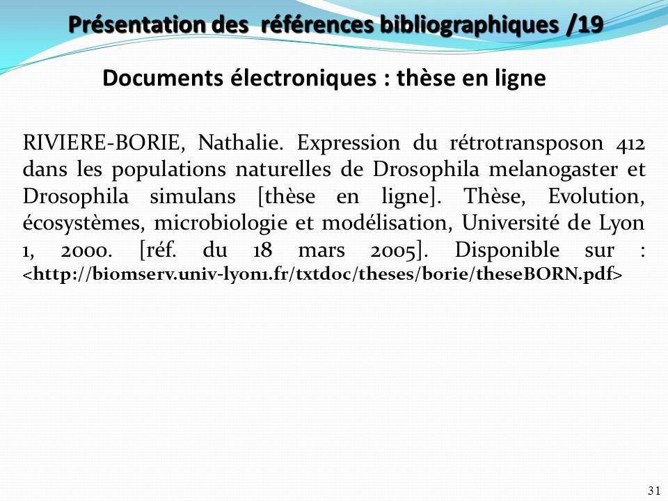 Présentation des références bibliographiques /19