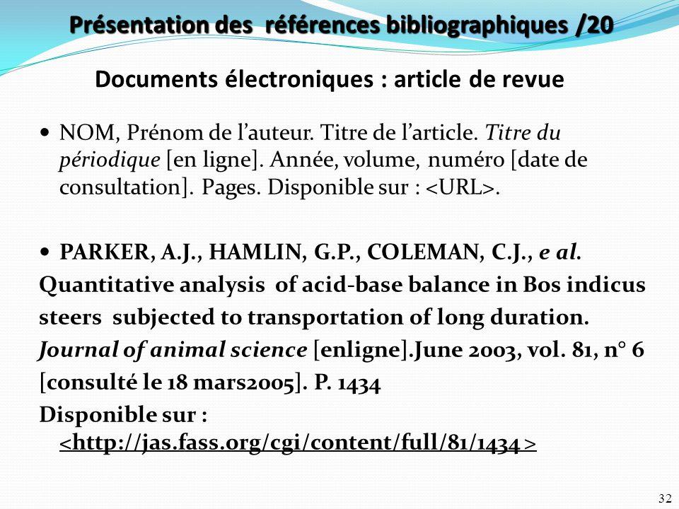 Présentation des références bibliographiques /20