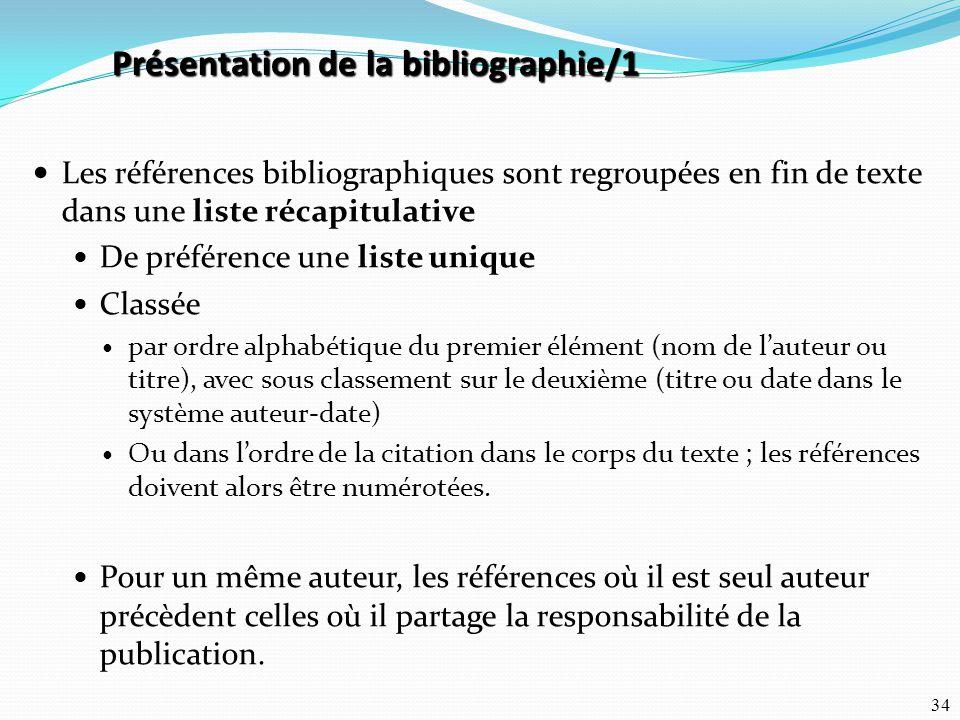 Présentation de la bibliographie/1