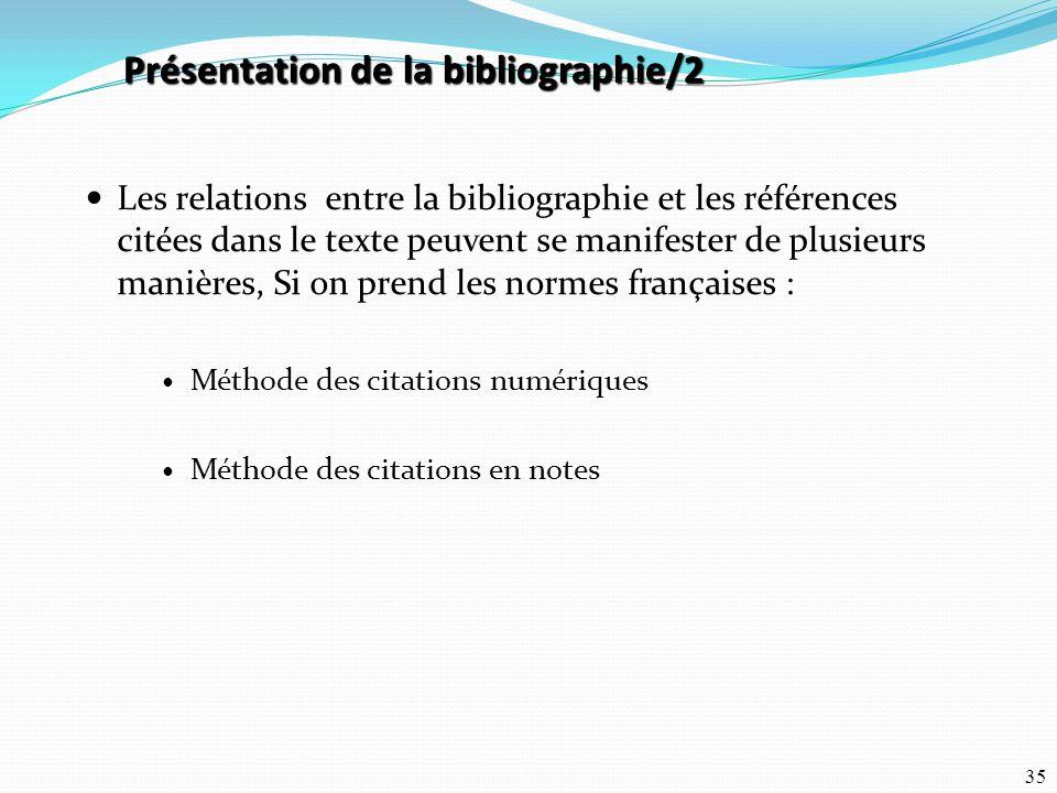 Présentation de la bibliographie/2