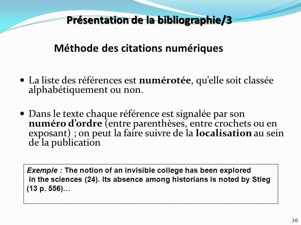 Présentation de la bibliographie/3 Méthode des citations numériques