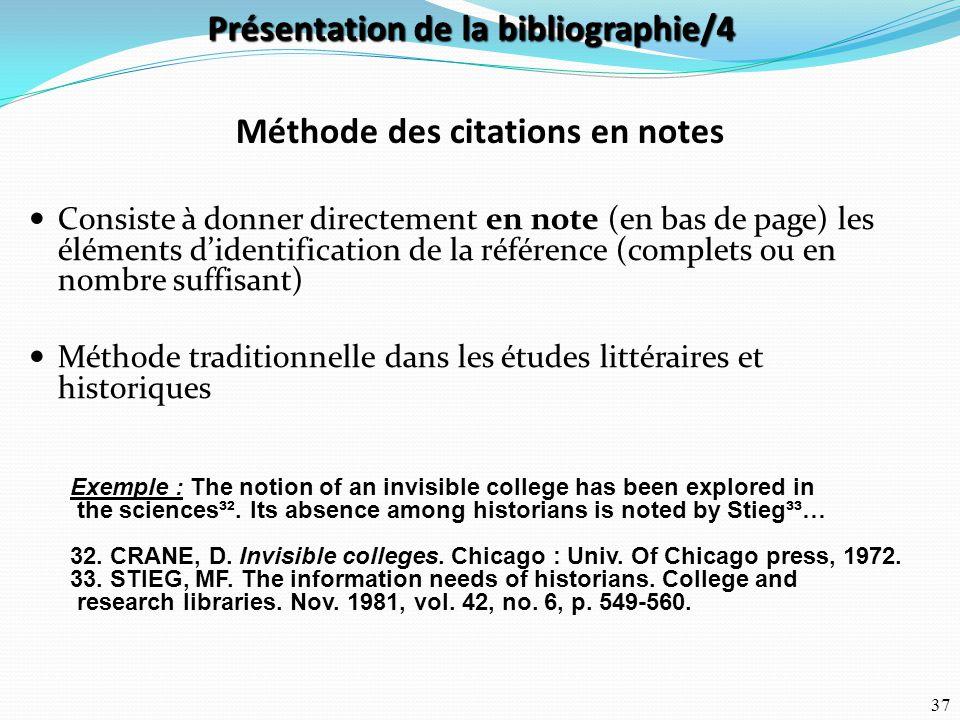 Présentation de la bibliographie/4 Méthode des citations en notes