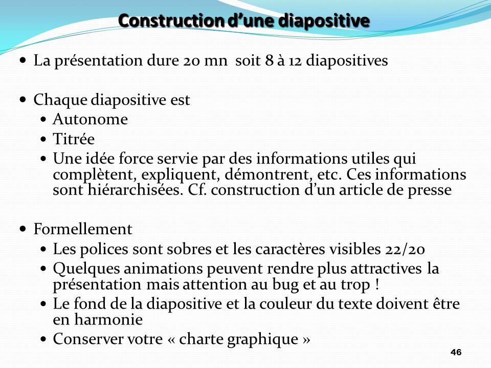 Construction d'une diapositive