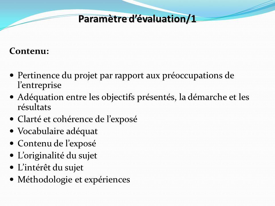 Paramètre d'évaluation/1