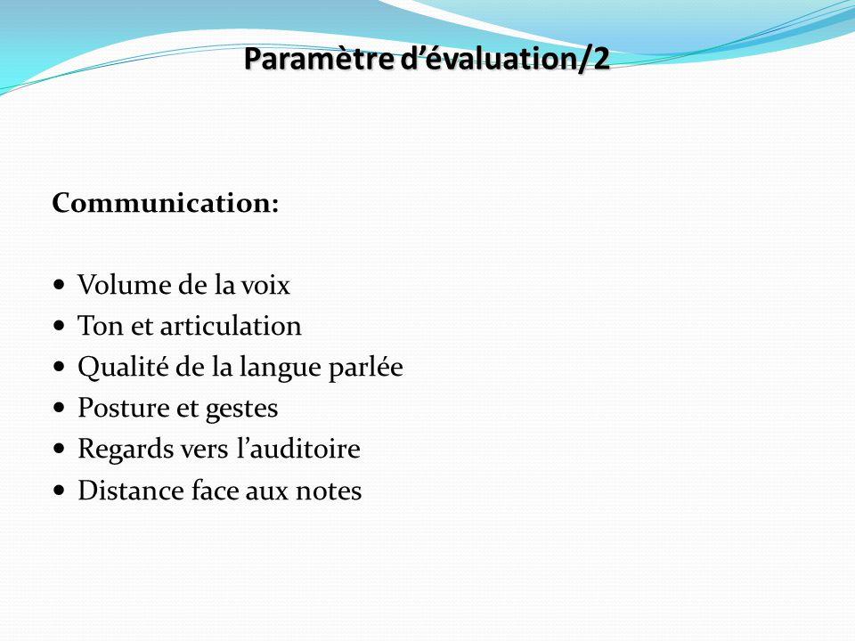 Paramètre d'évaluation/2