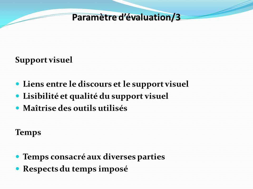 Paramètre d'évaluation/3