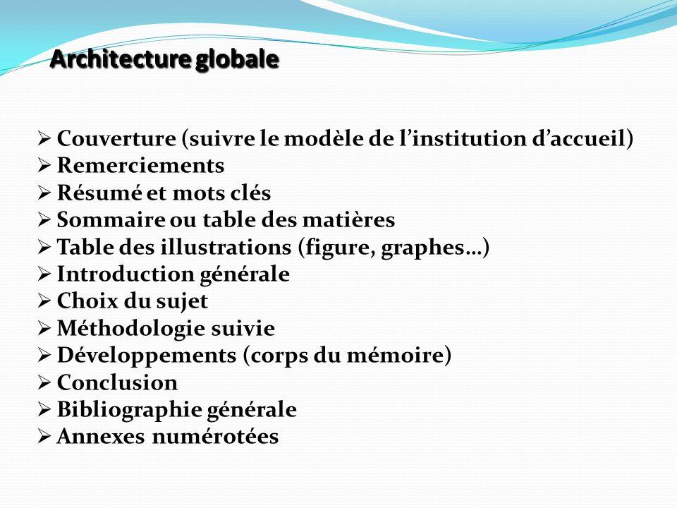 Architecture globale Couverture (suivre le modèle de l'institution d'accueil) Remerciements. Résumé et mots clés.