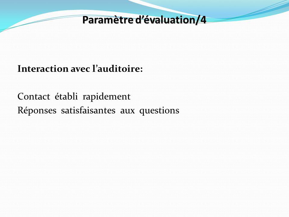 Paramètre d'évaluation/4