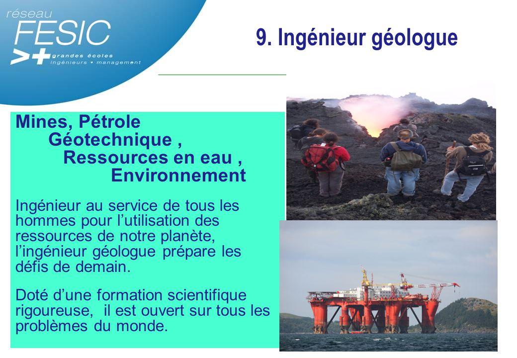 9. Ingénieur géologue Mines, Pétrole Géotechnique , Ressources en eau , Environnement.