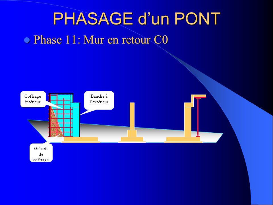 PHASAGE d'un PONT Phase 11: Mur en retour C0 Coffrage intérieur