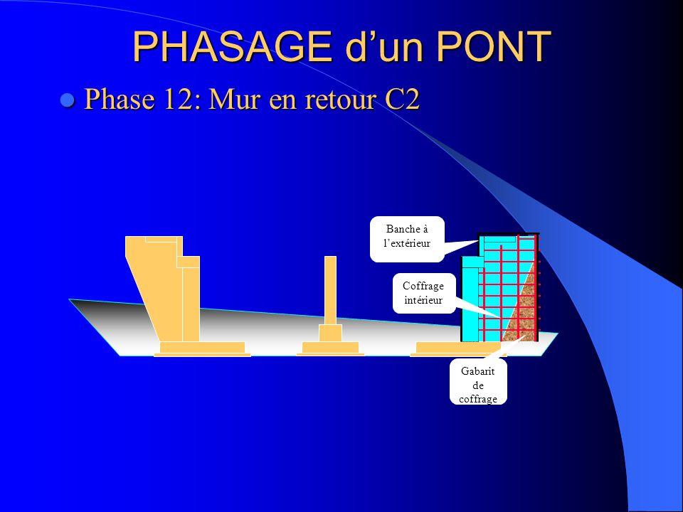 PHASAGE d'un PONT Phase 12: Mur en retour C2 Banche à l'extérieur