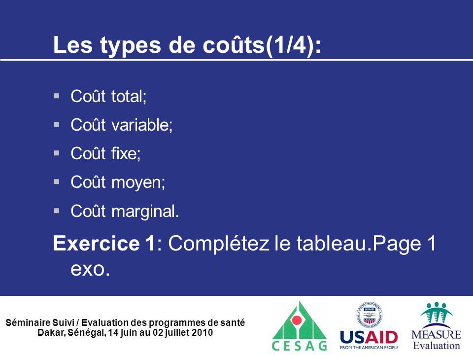 Les types de coûts(1/4): Exercice 1: Complétez le tableau.Page 1 exo.