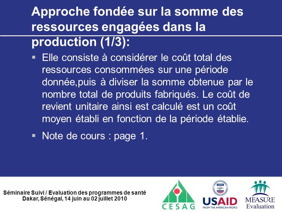 Approche fondée sur la somme des ressources engagées dans la production (1/3):