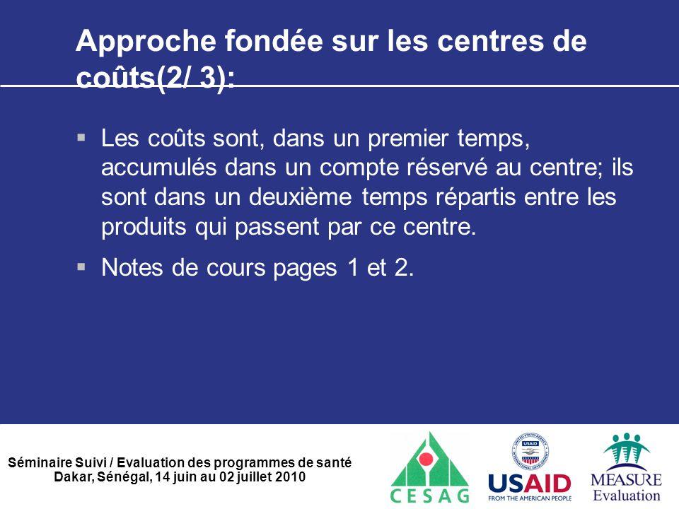 Approche fondée sur les centres de coûts(2/ 3):
