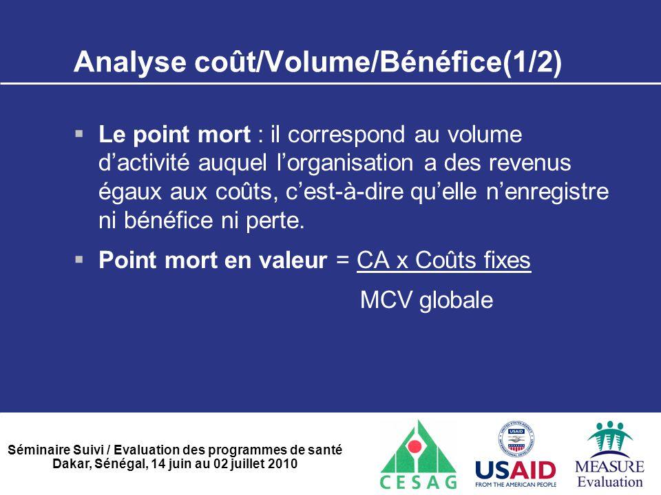 Analyse coût/Volume/Bénéfice(1/2)