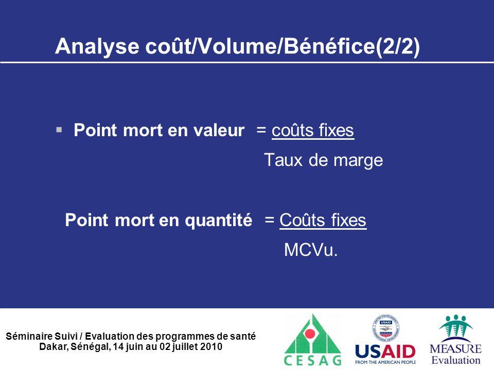 Analyse coût/Volume/Bénéfice(2/2)