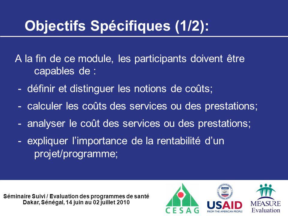 Objectifs Spécifiques (1/2):