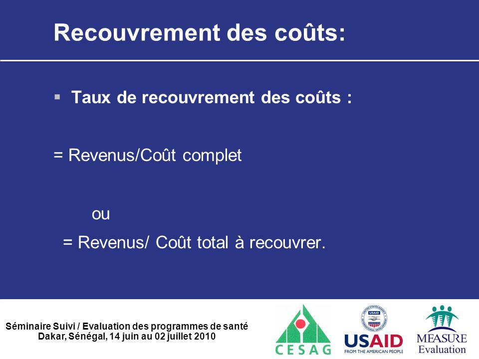 Recouvrement des coûts: