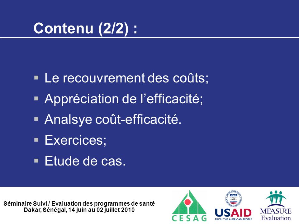 Contenu (2/2) : Le recouvrement des coûts;