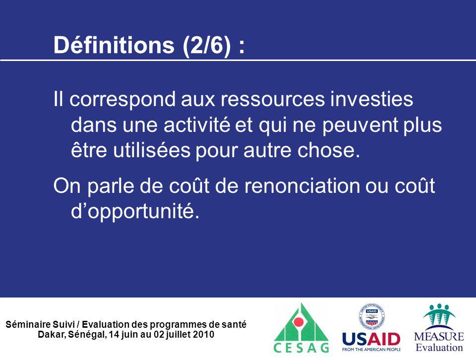 Définitions (2/6) : Il correspond aux ressources investies dans une activité et qui ne peuvent plus être utilisées pour autre chose.