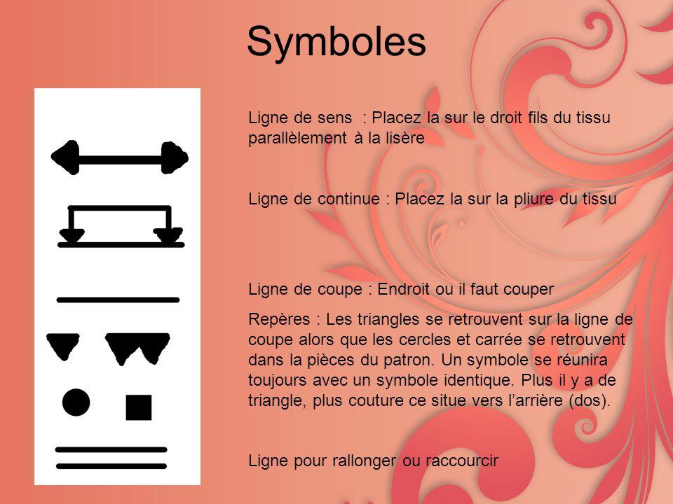 Symboles Ligne de sens : Placez la sur le droit fils du tissu parallèlement à la lisère. Ligne de continue : Placez la sur la pliure du tissu.