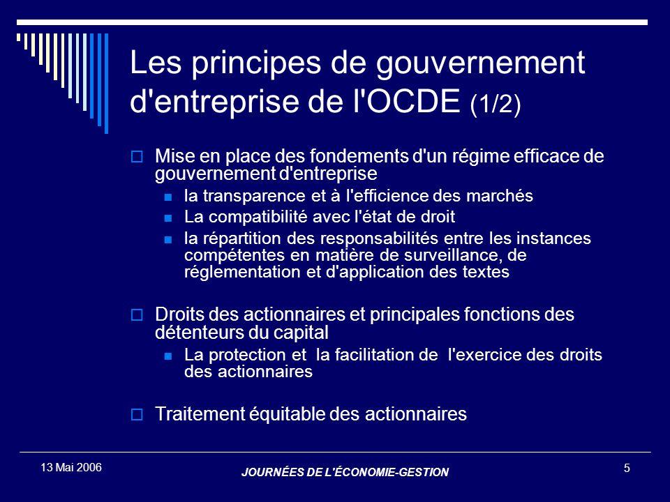 Les principes de gouvernement d entreprise de l OCDE (1/2)