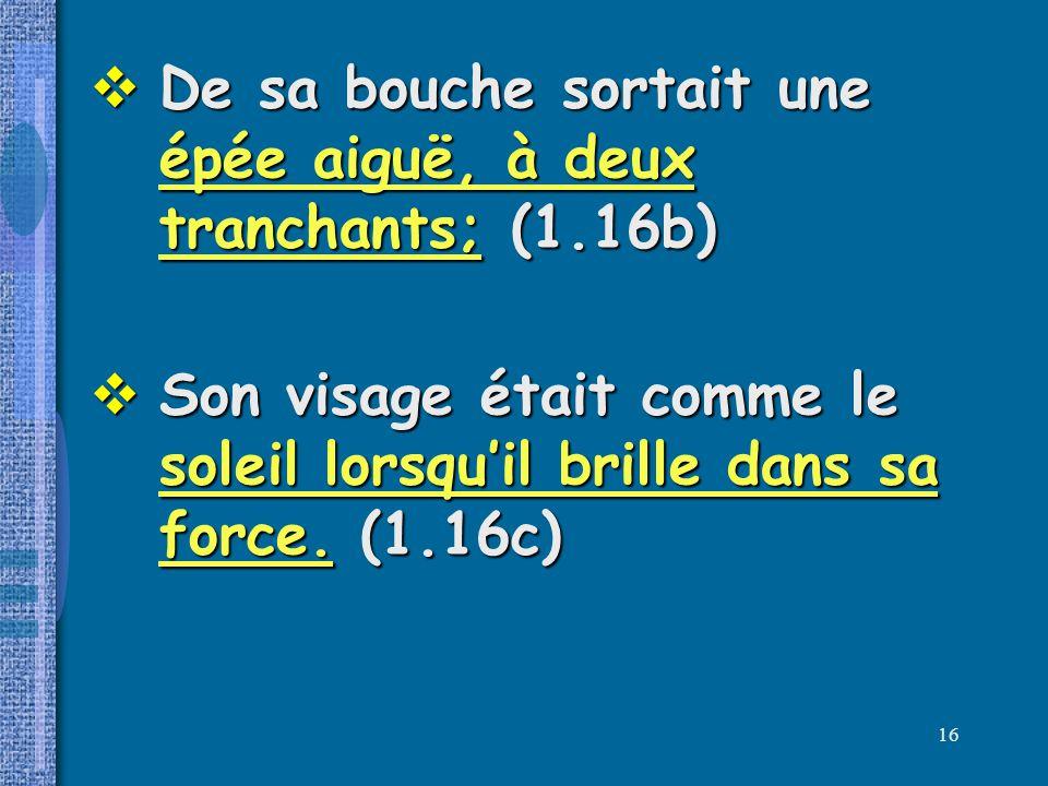 De sa bouche sortait une épée aiguë, à deux tranchants; (1.16b)