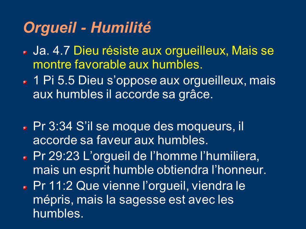 Orgueil - Humilité Ja. 4.7 Dieu résiste aux orgueilleux, Mais se montre favorable aux humbles.