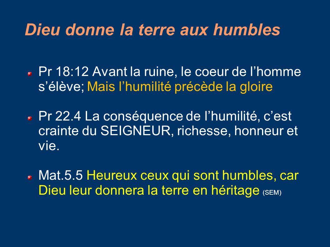 Dieu donne la terre aux humbles