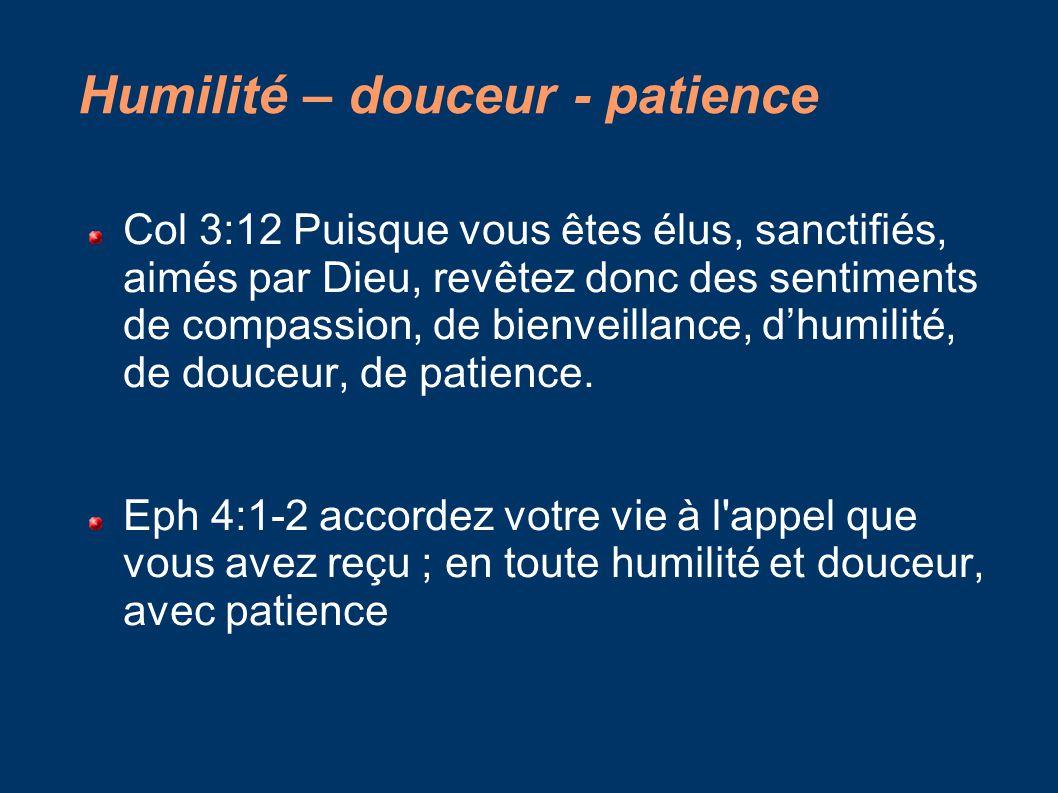 Humilité – douceur - patience