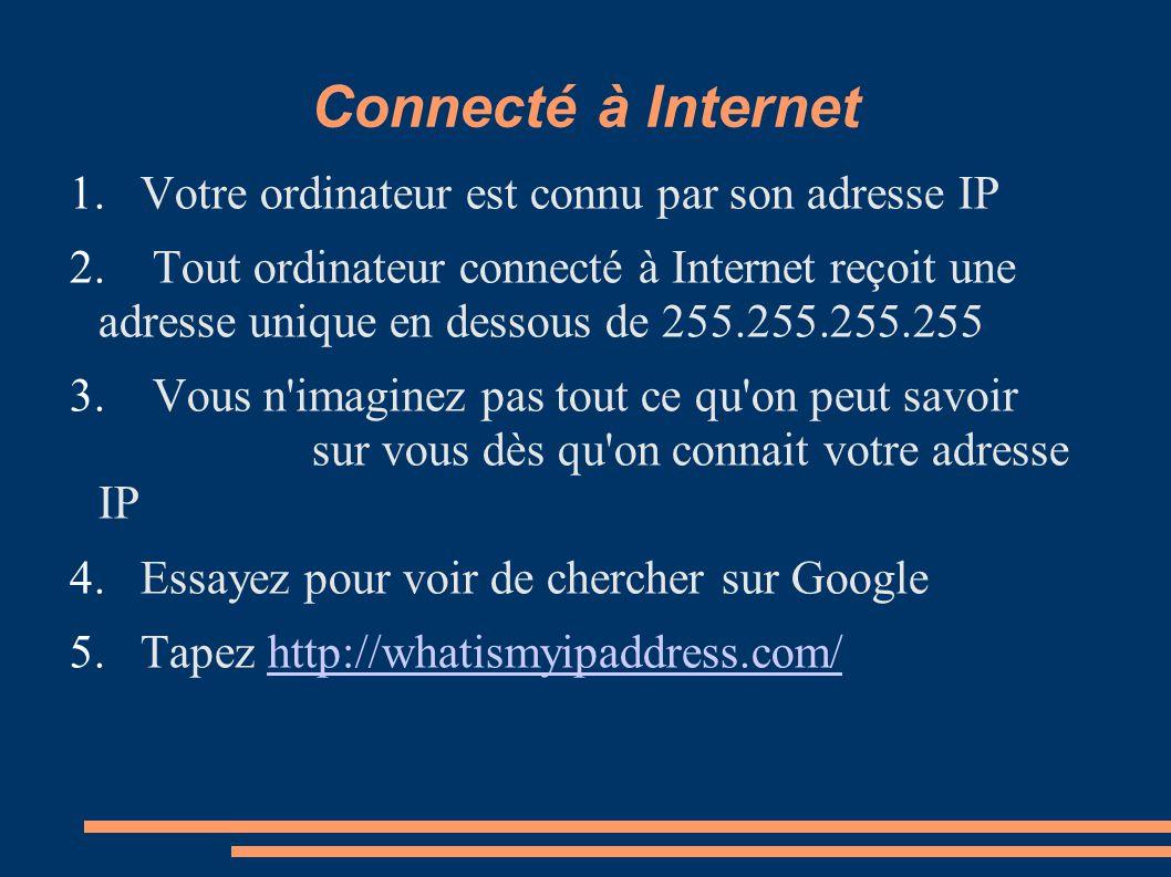 Connecté à Internet Votre ordinateur est connu par son adresse IP