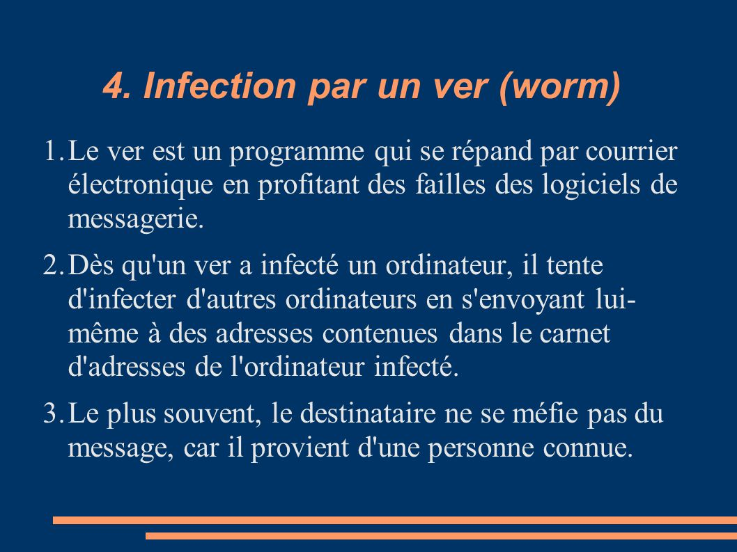 4. Infection par un ver (worm)