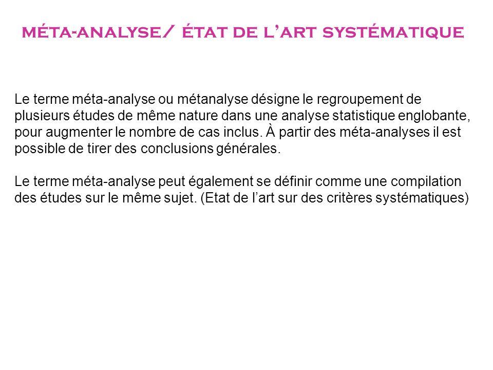 méta-analyse/ état de l'art systématique
