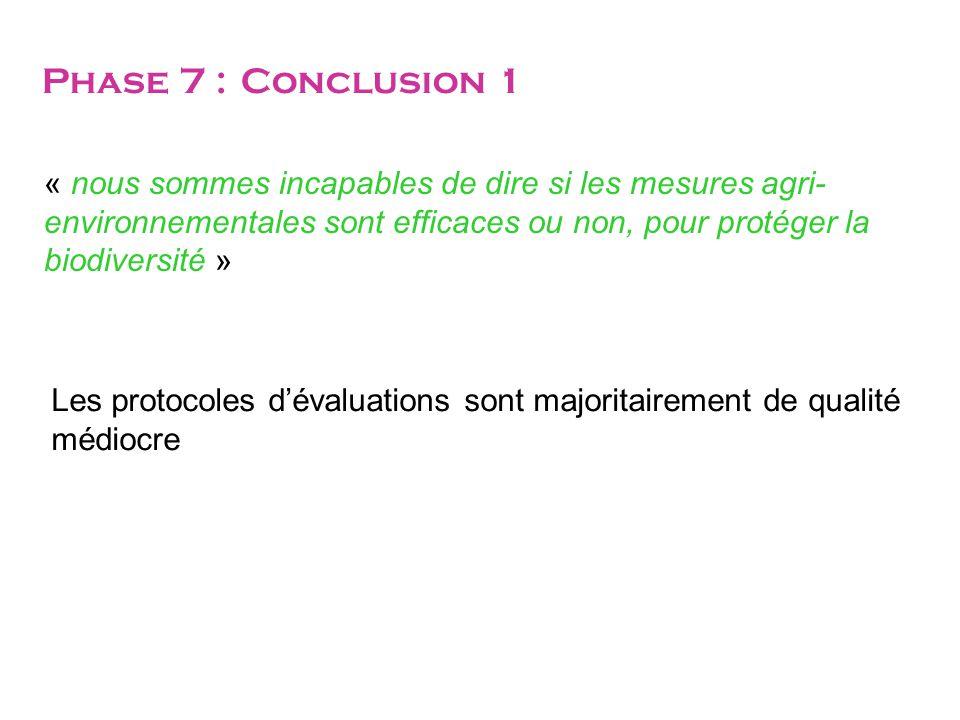 Phase 7 : Conclusion 1 « nous sommes incapables de dire si les mesures agri-environnementales sont efficaces ou non, pour protéger la biodiversité »