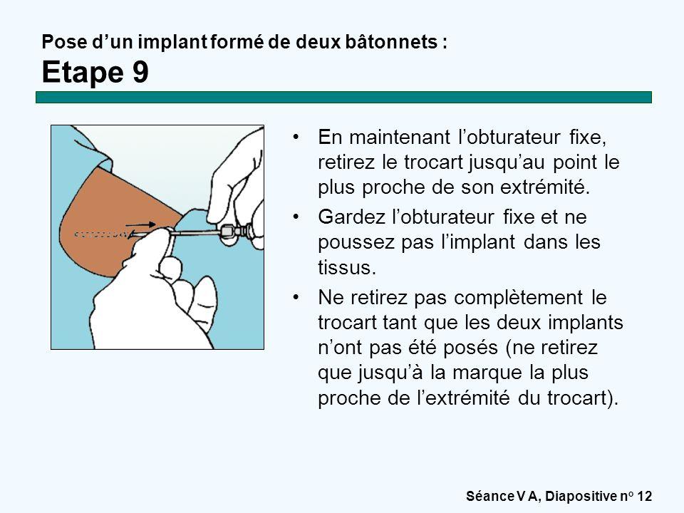 Pose d'un implant formé de deux bâtonnets : Etape 9