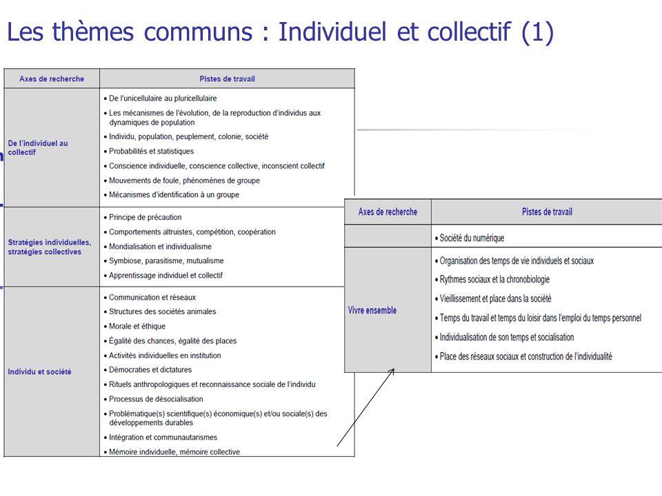 Les thèmes communs : Individuel et collectif (1)