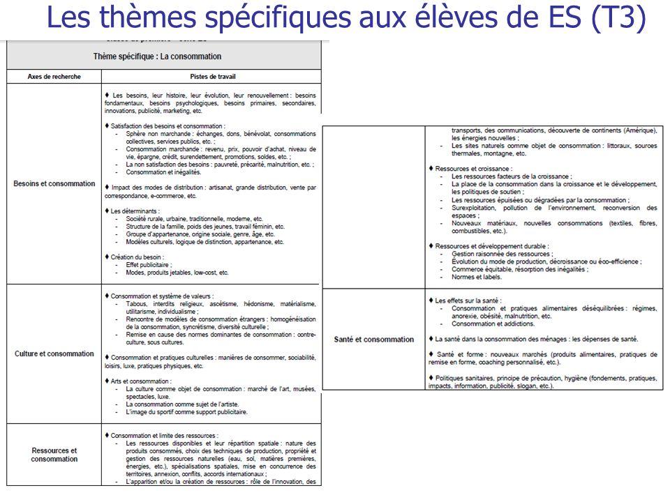 Les thèmes spécifiques aux élèves de ES (T3)