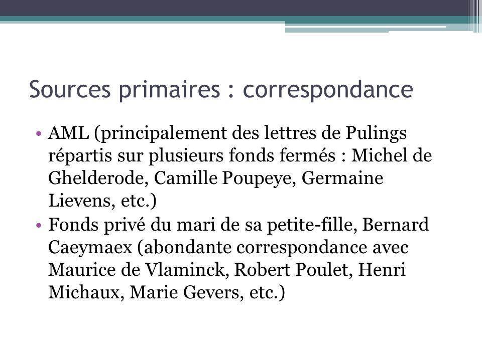 Sources primaires : correspondance
