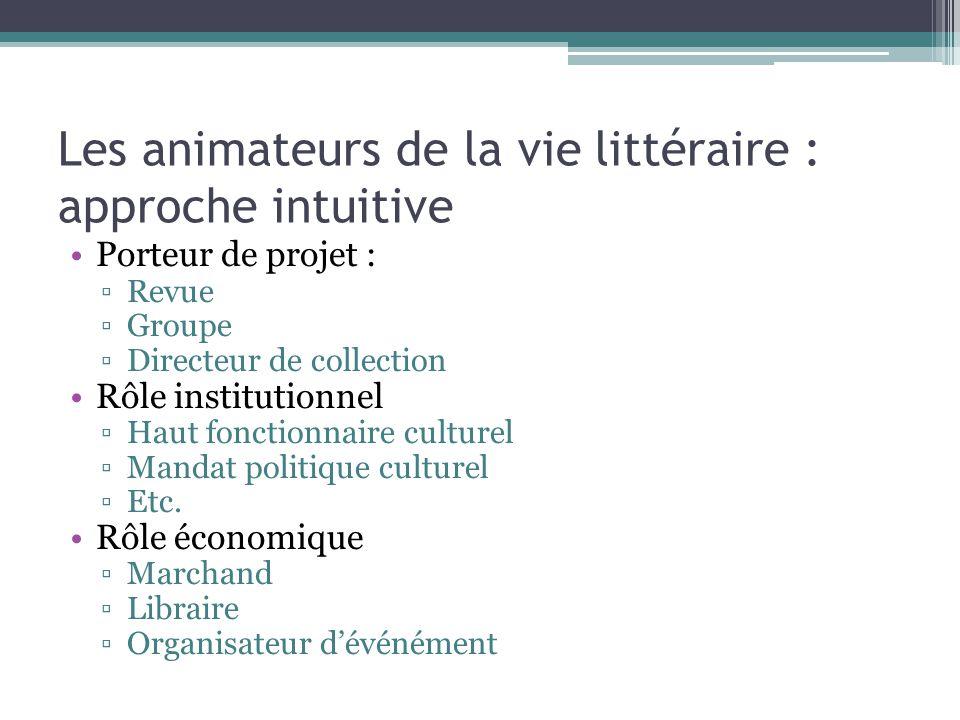 Les animateurs de la vie littéraire : approche intuitive
