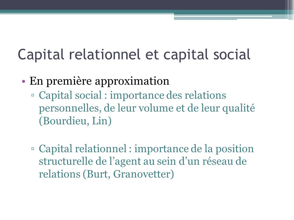 Capital relationnel et capital social
