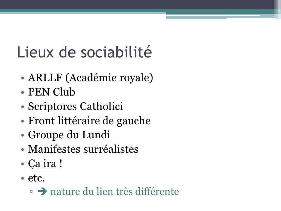Lieux de sociabilité ARLLF (Académie royale) PEN Club