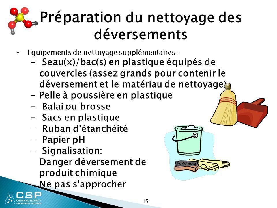 Préparation du nettoyage des déversements