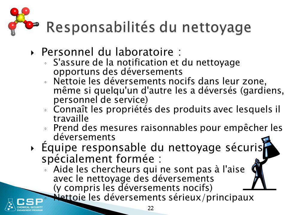 Responsabilités du nettoyage