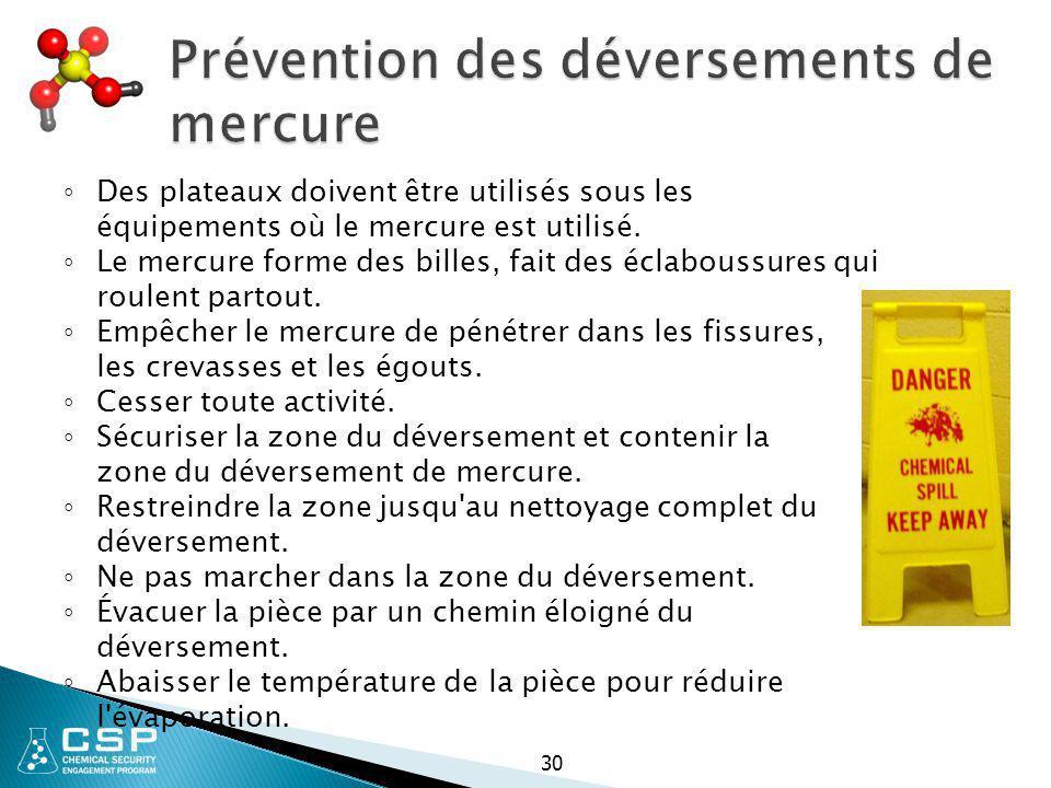 Prévention des déversements de mercure