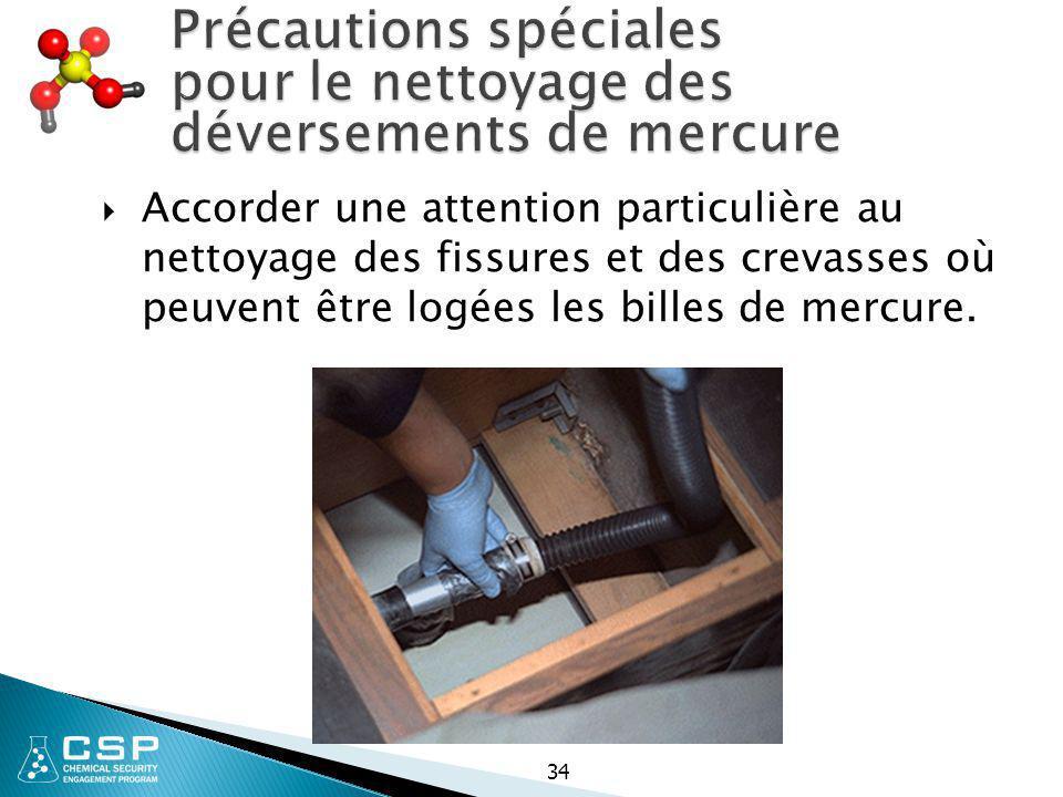 Précautions spéciales pour le nettoyage des déversements de mercure